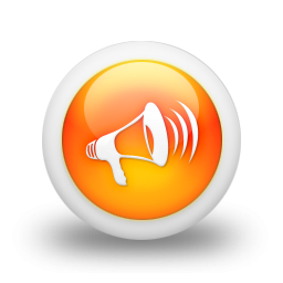 105835 3d glossy orange orb icon media loud speaker